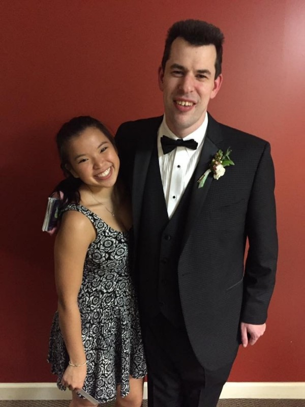 Special Olympian Stephen Yikes with coach Lily Magliente At the Tim  Tebow -Night to Shine- Prom event