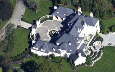 aerial view of fancy house