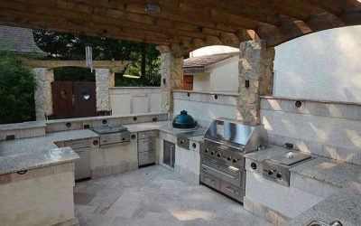 A fabulous outdoor kitchen sets the grillmasters apart from the weekend cooks.