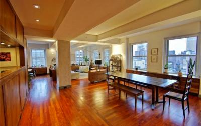 Multiple windows allow sunlight in at this Rittenhouse condo.