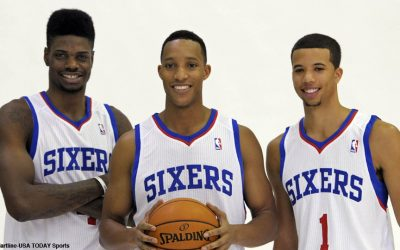 Philadelphia 76ers center Nerlens Noel (4), small forward Evan Turner (12) and point guard Michael Carter-Williams (1) during a media day photo shoot at Philadelphia College of Osteopathic Medicine.