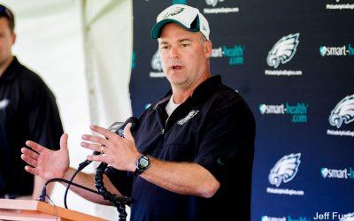 Eagles Defensive Coordinator Bill Davis Explaining to Press