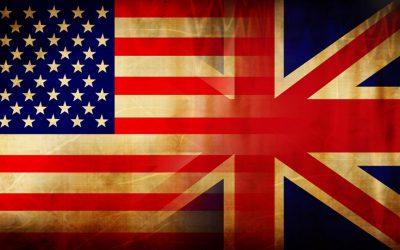 united states flag and united kingdom flag merging