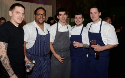 From left: Mike Griffiths of Fork, Kevin Sbraga of Sbraga, chef Jon Cichon of Lacroix, and Ed Konrad and chef Nicholas Elmi of Laurel.