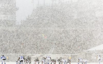 Philadelphia Eagles and Detroit Lions line up during the first quarter at the Lincoln Financial Field Snow Bowl