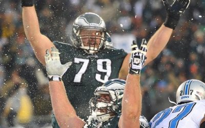 Much of the credit goes to the offensive line in the Eagles' win over the Lions in the Lincoln Financial Field Snow Bowl
