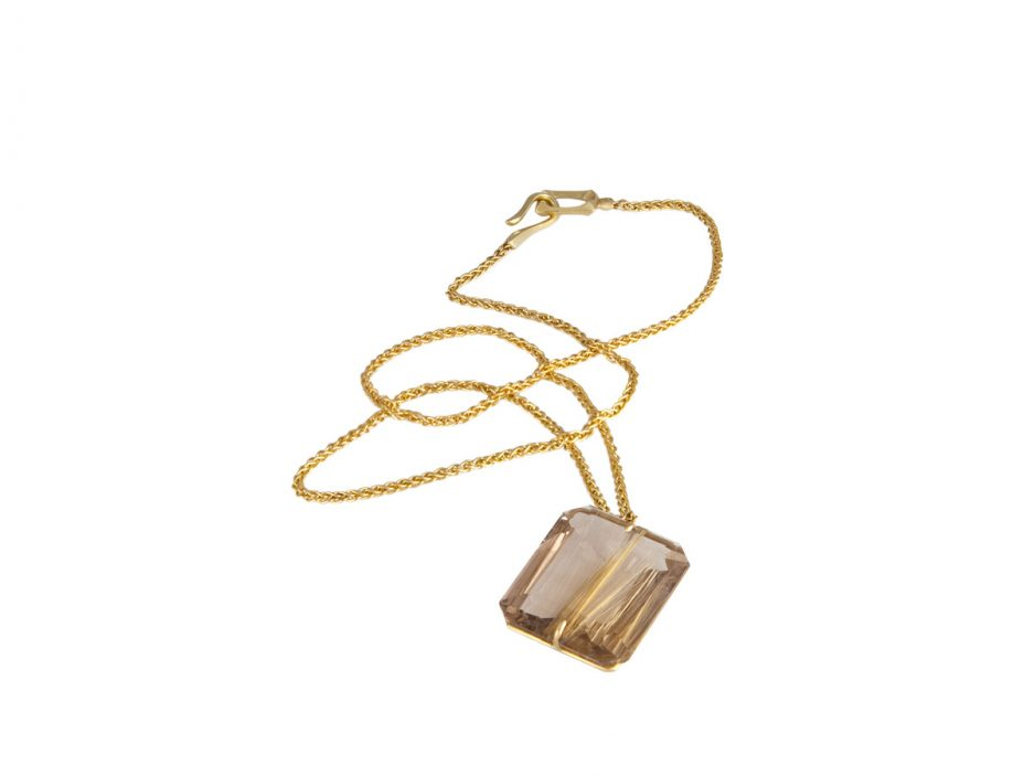 Gabriella Kiss 18k Faceted Rutilated Quartz Pendant 2 420 This Is That Necklace Will Elevate Your On Down The Gorgeous With Embedded