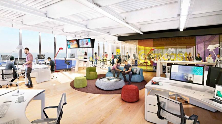 Renderings gensler will design new comcast tower 39 s interior Philadelphia interior design firms