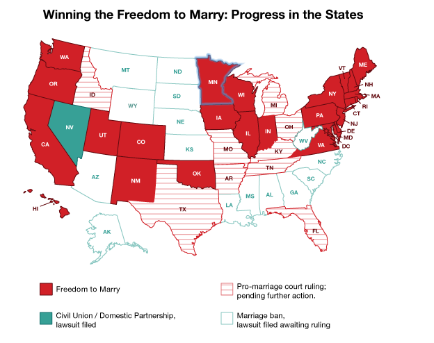 Percentage states gay marriage