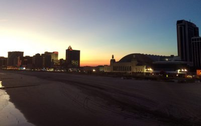 Atlantic City beach at night