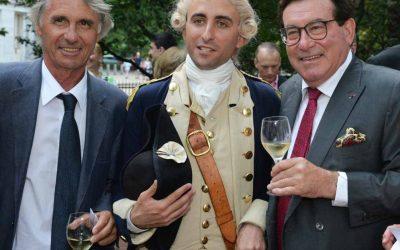 From left: Benedict Donnelly, Président de l'Association Hermione Lafayette; Le Marquis de Lafayette, played by first-person interpreter Benjamin Goldman, who brings his role to life; and André Liébot, President chez Groupe Liebot,