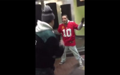 Viral video screengrab - Giants fan punched