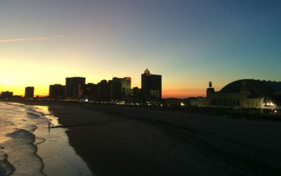 Atlantic City beach and boardwalk at twilight
