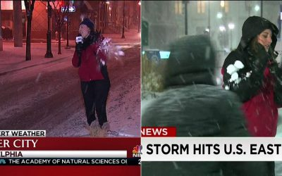 TV reporters hit with snowballs
