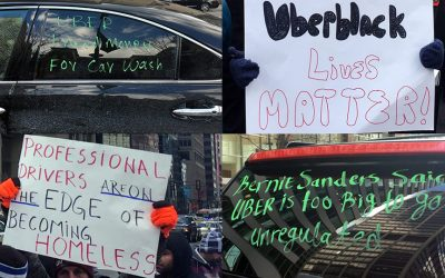 Anti-UberX and Lyft protest signs