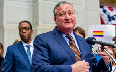 Mayor Jim Kenney speaks at the Philadelphia vigil for victims of the Orlando Pulse Nightclub shooting.