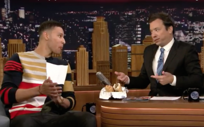 Ben Simmons and Jimmy Fallon eat a Dalessandro's cheesesteak on the set of The Tonight Show