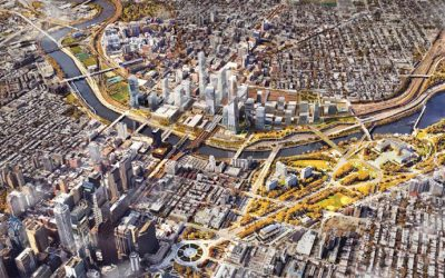 30th Street Station development plan, aerial view