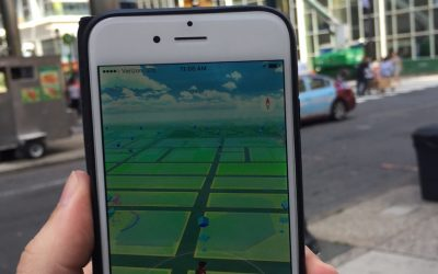 A map on the new app Pokemon Go, at the corner of Market and 19th