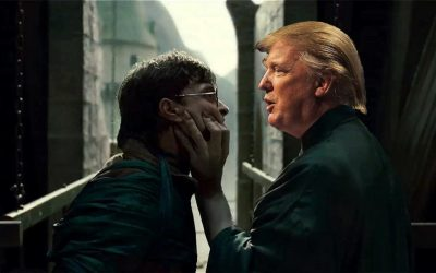 Harry Potter vs. Voldemort, but with Donald Trump instead of Voldemort
