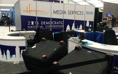 2016 DNC Media services tent photo —several chairs are overturned