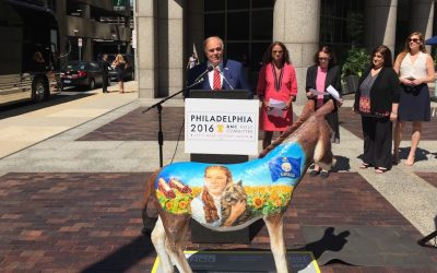 Former Governor Ed Rendell with the Kansas delegation's donkey.