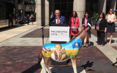 Former Governor Ed Rendell with the Kansas delegation's donkey.