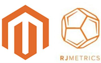 The logos of Magento and RJMetrics.