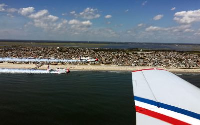 View of the New Jersey beach and Atlantic Ocean from a GEICO Skytypers plane