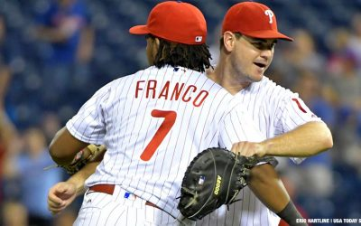 Philadelphia Phillies third baseman Maikel Franco (7) celebrates with Philadelphia Phillies first baseman Tommy Joseph (19) after final out against the Colorado Rockies at Citizens Bank Park.