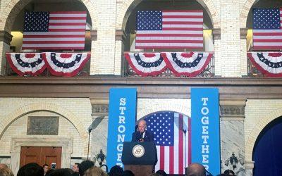 Joe Biden speaks in Drexel's grand court