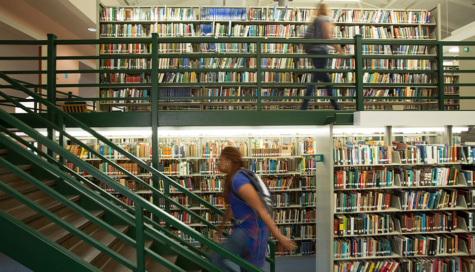 La Salle - stacks in the library