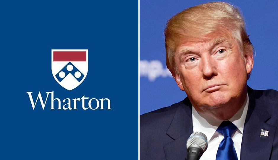 Wharton logo; Donald Trump