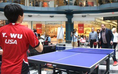 Philadelphia magazine writer Dan McQuade plays table tennis against 2015 Pan American Games champion Yue Wu