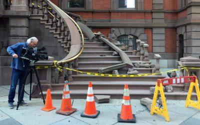 Union League steps - railing destroyed - CBS 3 cameraman filming