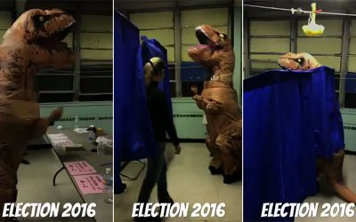 Dinosaur costumes - voter in south philly