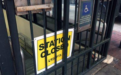 SEPTA station closed, 13th street