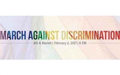 """March Against Discrimination"" banner"