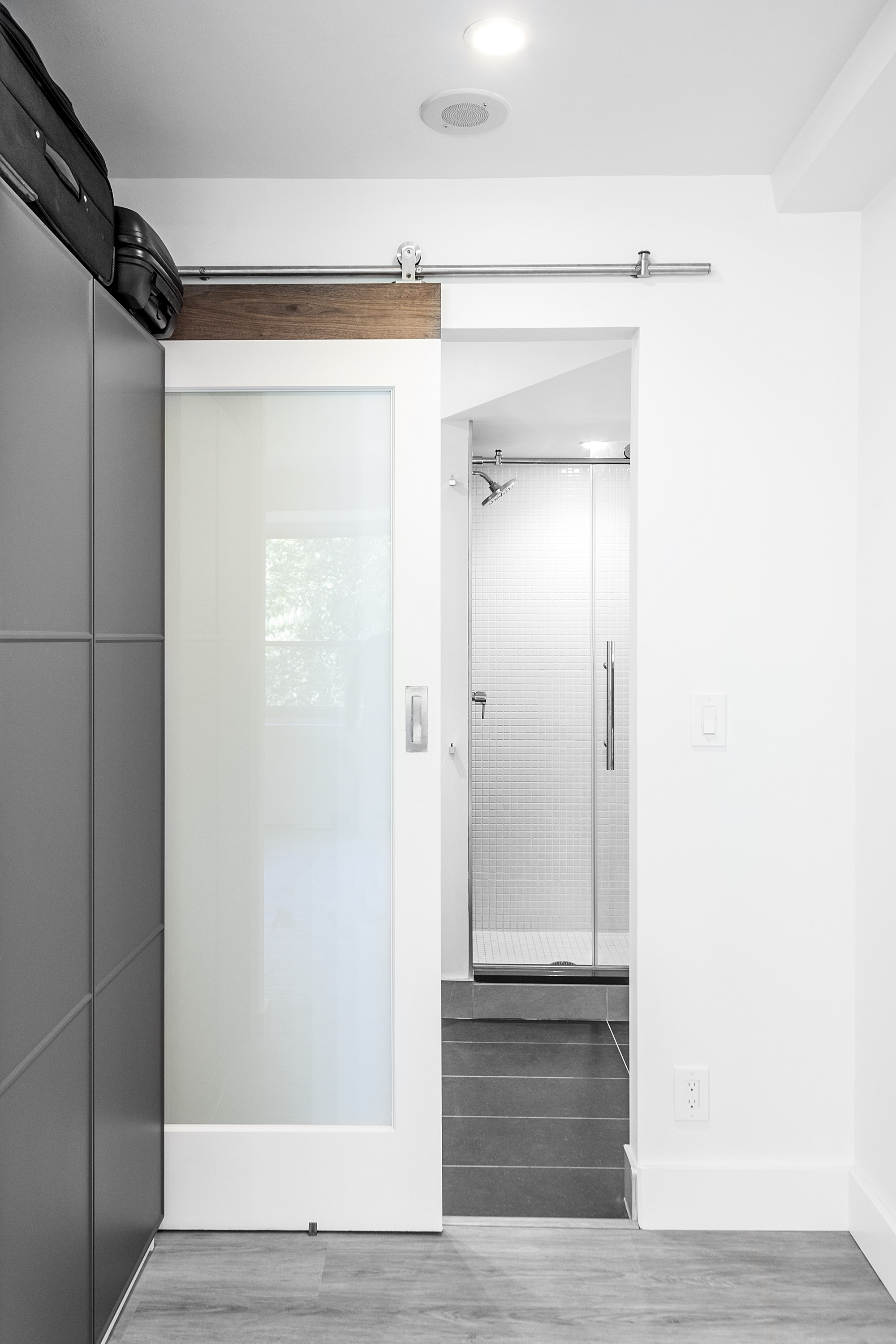 sliding new bath double doors for master our barn entrance to bathroom pin door