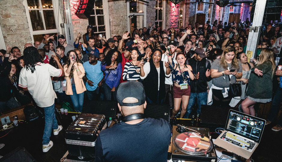 The scene at Philly's SXSW VIP event with DJ Jazzy Jeff. Image via Rec Philly.