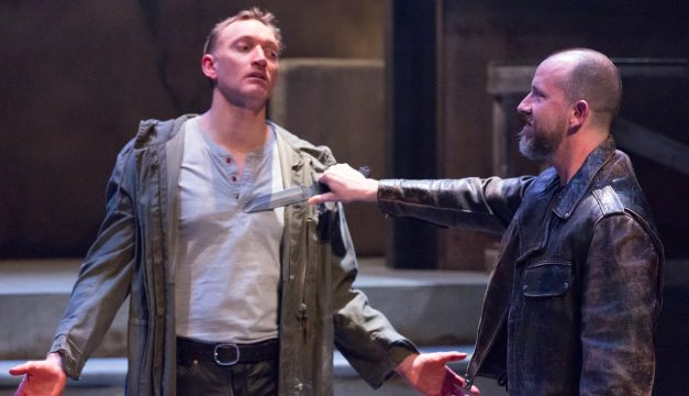 Robert Lyons and Charlie DelMarcelle in Coriolanus at Lantern Theater. (Photo by)