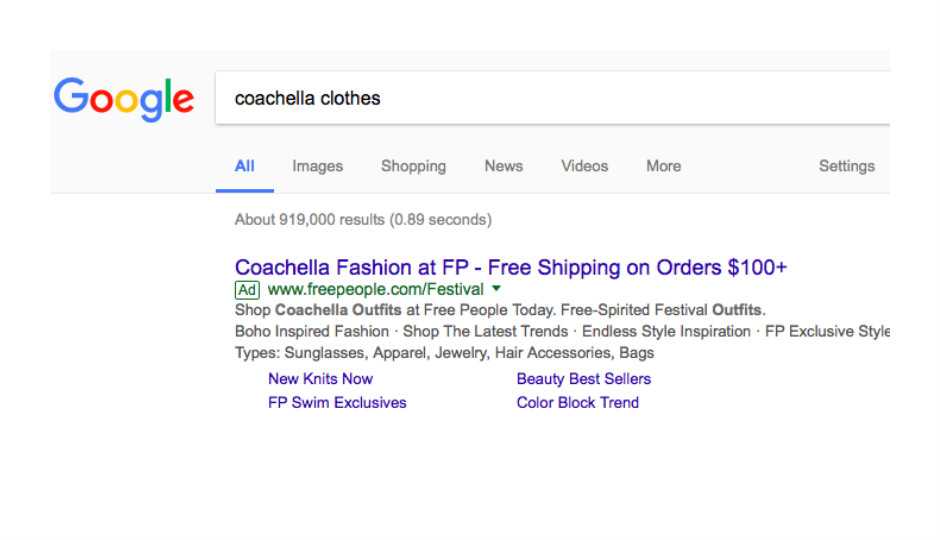 Screenshot of Free People ad in Google search results.