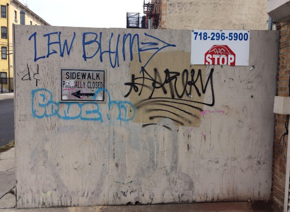 Some Lew Blum graffiti made it all the way to a wall in Brooklyn. (Photo by Dan McQuade)