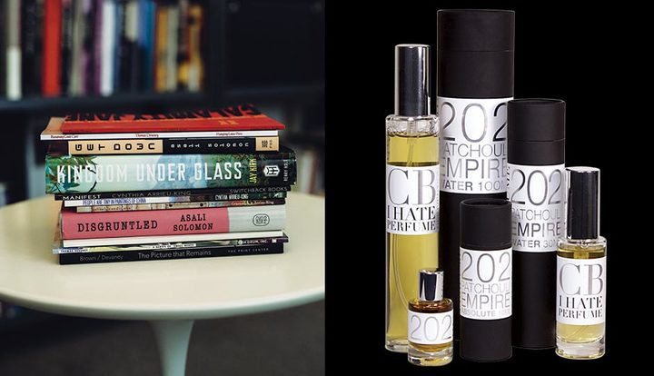 Books photograph by Jauhien Sasnou. | Perfume photo via Michael Weiss.