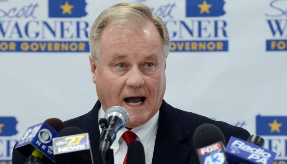 Scott Wagner, a Republican state senator from York County and owner of trash hauling firm Penn Waste, speaks to reporters at a Penn Waste facility after formally announcing that he will run for Pennsylvania governor in 2018, Wednesday, Jan. 11, 2017 in Manchester, Pa. (AP Photo/Marc Levy)