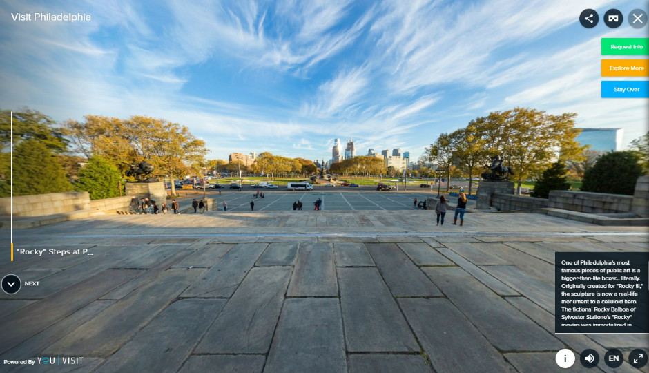 A screenshot of VISIT PHILADELPHIA's new virtual reality, 360-degree tour of the Art Museum steps. Courtesy photo.