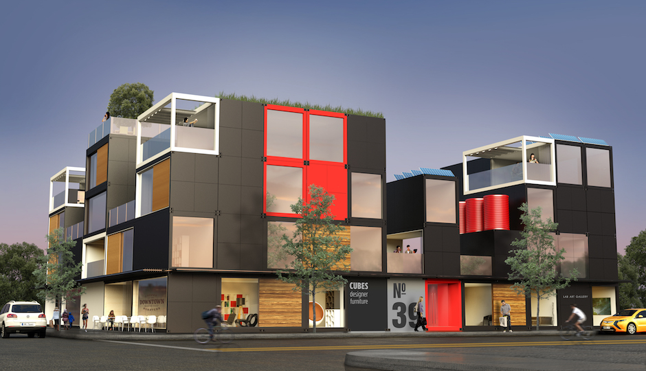 An example of a multifamily housing development built using Blokable's modular units.   Rendering; Blokable