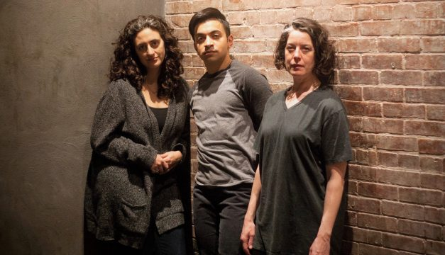 Felicia Leicht, Samy el-Noury, and Corinna Burns in Swallow at Inis Nua. (Photo by Katie Reing)