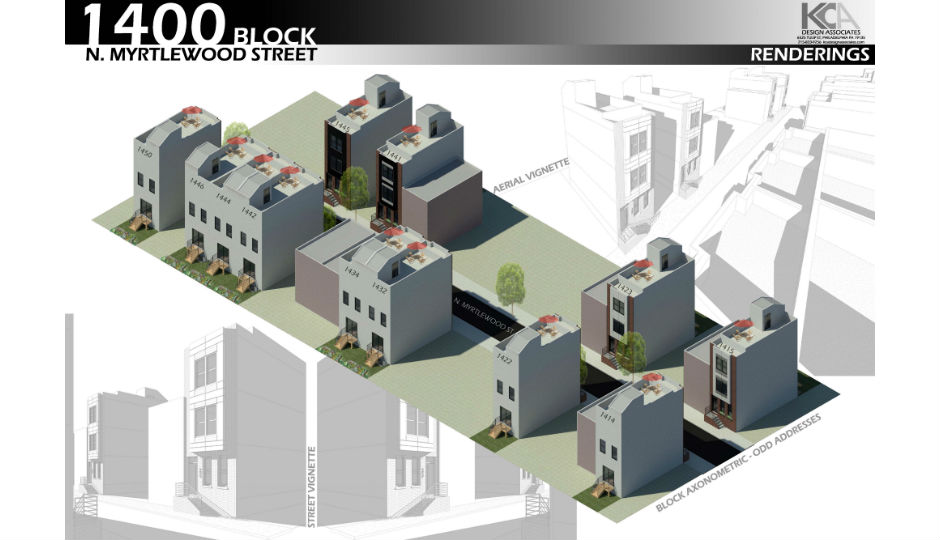Perspective and axonometric drawings of the Myrtlewood Street development. | Rendering: KCA Design Associates via V2 Properties