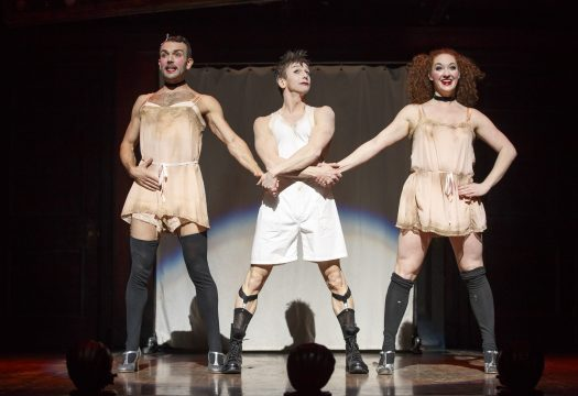 Joey Khoury, Jon Peterson, and Chelsey Clark in the 2017 National Touring production of Roundabout Theatre Company's CABARET. (Photo by Joan Marcus)